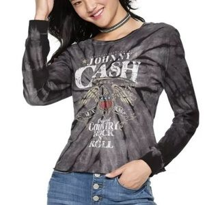 Johnny Cash Graphic Tie Dyed Long Sleeve Tee Shirt